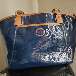 Blue Patent Leather Coach Tote